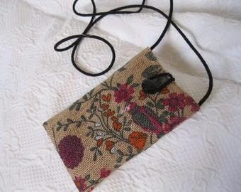 Burlap Cell phone Bag