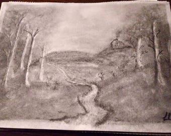 Landscape scene Graphite sketch