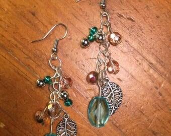 Teal & Leaf Cluster Earrings