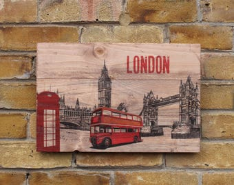 London wooden plaque sign