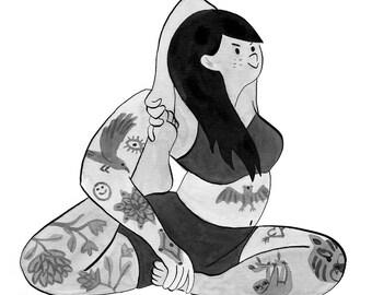 A3 - Tattooed yogi art print