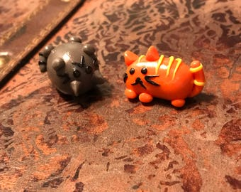 Miniature polymer clay cats/kittens/figurine/orange/grey/grey/pets/animal/collection