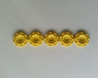 Yellow bakelite buttons set of five