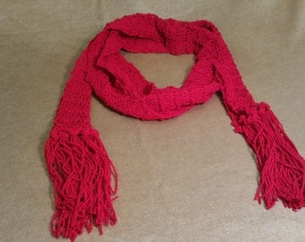 Red vintage fringed scarf
