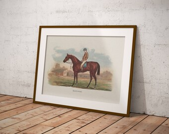 Printable Wall Art, Vintage Painting, Victorian Antique Picture, Hall Decor, Living Room, Green, Equestrian, Horse, Rider, Garden