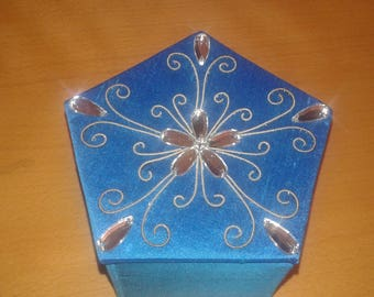 Turquoise silk embroidery box