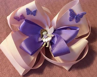 Fancy Bow, Stacked Boutique, Pink and Purple Bow, Fairy Bow, Boutique Bow, girls barrette, layered over the top, Butterflies and Fairies, 6""
