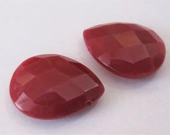 29 x 30mm Red Jade Faceted Teardrop Pendant Beads Rare Semi Precious Gemstone Pendant Beads,Top Drilled Red Jade Faceted Pendant (RDJP-024)