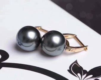 High Quality Natural Sea Pearl Square Loop Earrings w/18K Solid Gold Earwire,Genuine Natural Pearl Drop Earring, High Luster Pearl Earrings