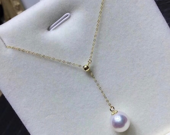 8-9mm High Quality Natural White Freshwater Pearl w/18K Solid Yellow Gold Adjustable Chain Necklace, Single Drop Pearl Bridal Necklace