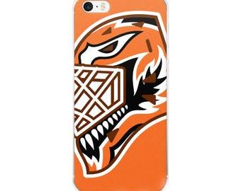 """Orange """"92"""" Goalie Mask iPhone Case"""