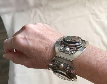 "Vintage Silver  cuff bracelet, ""Aztec"" style"