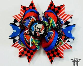 DC Super Hero Girls Harley Quinn Stacked OTT Boutique Hair Bow Blue Red Black