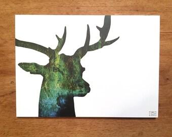 Postcard, greeting card, deer map