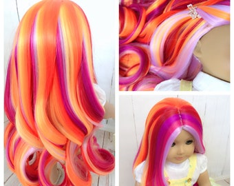 """Custom 18'' American Girl doll wig """"Sunset"""" Hight Quality Heat Safe fit 10.5'' to 11.5'' doll head."""