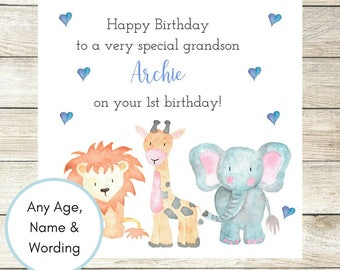 1st Birthday Card, Personalised Birthday Card, Nephew Birthday Card, Son Birthday Card, Grandson Card, Any Age Name Wording 2nd, 3rd, 4th