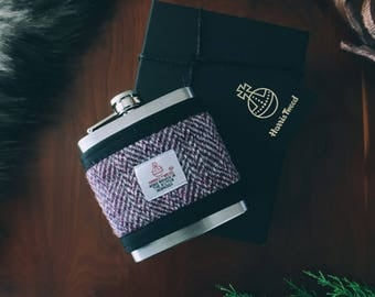 Harris Tweed Purple Hip Flask Gift Boxed 6oz, Groomsmen Gift, Whiskey Flask, Fathers Day Gift
