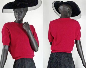 1950s Red Cashmere Sweater Pringle of Scotland New Look Sz 38 #1093