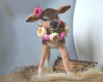 felted deer , felt deer , toy deer , beautiful deer , bambi