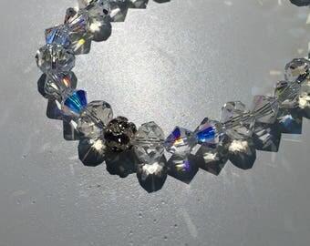 Swarovski Crystal bracelet, 6mm Crystal,  Bicone shapped cyrstal beads, 8mm Crystal, Clear Swarovski crystals, Rondelle crystal