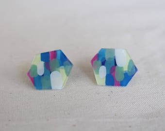 Abstract Painting earrings, Art earrings, Hexagon earrings, Colourful earrings, Hand painted earrings, Unique earrings
