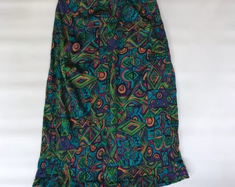 Vintage Graphic Midi Skirt Size 12