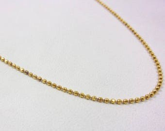 """Solid 14K Yellow Gold 18"""" Shimmering Bead Chain Necklace, 2.1 grams, 1.1mm"""