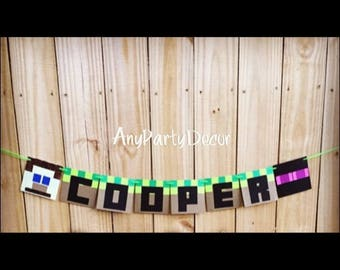 Minecraft inspired Birthday Party Banner Personalized