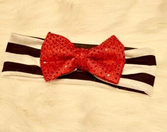 Valentine's Day Headband Bow - Stretchy