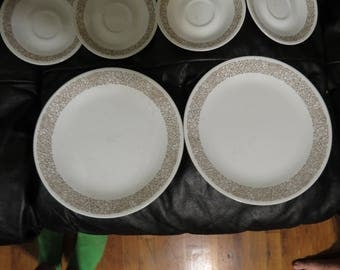 """Corelle Woodland Brown 10-1/4"""" Dinner plates x 2 by Corelle w/ 4 Saucers & 4 Cups by Corning ware USA Woodland Brown"""