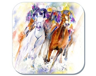 Colours of the Race - Horse Coaster, Equine Coaster (Corked Back). From an original Sheila Gill Watercolour Painting