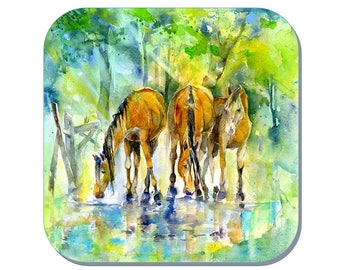 Forest Ponies - Equine Coaster, Horse Coaster, Pony Coaster (Corked Back). From an original Sheila Gill Watercolour Painting
