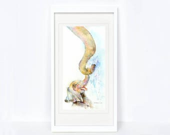 Splash - Elephant Print. Printed from an Original Sheila Gill Watercolour. Fine Art, Giclee Print, Hand Painted, Home Decor