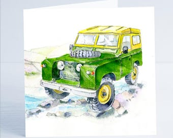 Land Rover Greeting Card - Taken from an original watercolour by Sheila Gill