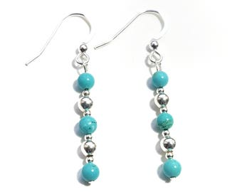 Sterling Silver and Turquoise Beaded Drop Earrings
