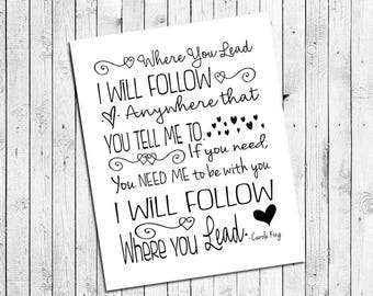 Typography Print WHERE YOU LEAD I Will Follow 8x10 Wall Decor Print, Gilmore Girls