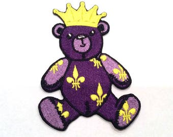 Royal Violet Teddy Bear with a Crown and Heraldic Lilies Iron On Patch - Embroidered Patch - Sew On Patches