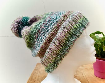 Hand Knitted Bobble Hat with Pom Pom Purples/Greens/Blues