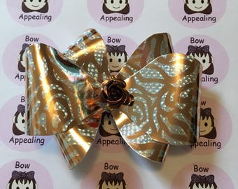 Rose gold print bow for girls