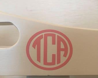 Custom monogrammed vinyl decal