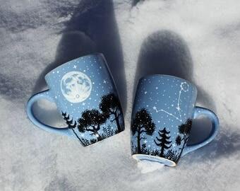 Personalized mug with moon and constellation, Full moon constellation coffee mug, Crescent moon constellation birthday valentines gift mug