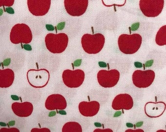 Sevenberry premium Japanese cotton. Red Apples on white  background