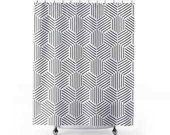 Shower Curtain: Black And White Geometric