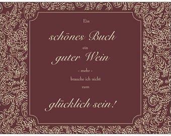 Book & Wine Postcard