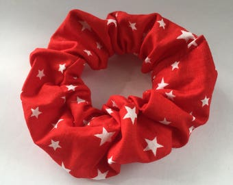 Red Scrunchie with White Stars