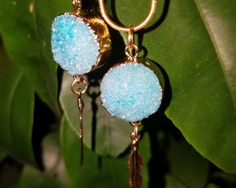 Turquoise blue druzy gold necklace