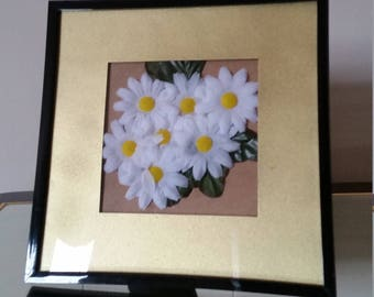 Mini White Faux Flowers with Gold Border Picture Frame