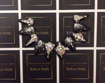 Hand painted press on nails false nails black Stiletto diamantes and glitter
