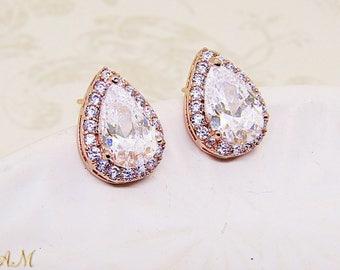 Crystal Teardrop Earrings, Bridal Earrings, Wedding Jewelry, Bridal Jewelry, Crystal Bridal Earrings, Small Crystal Stud Earrings