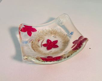 Fused Glass Trinket Dish With Copper Inclusions.